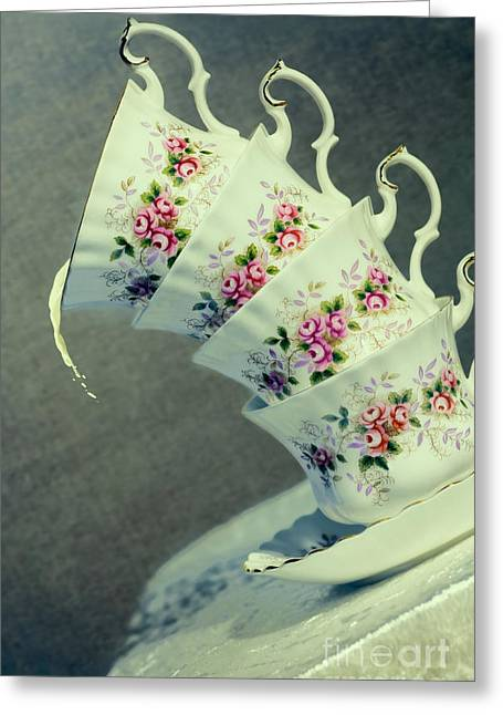 Vintage Teacup Greeting Cards - Extreme Tilt Greeting Card by Amanda And Christopher Elwell