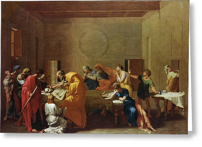 Sorrow Greeting Cards - Extreme Unction, C.1637-40 Oil On Canvas Greeting Card by Nicolas Poussin