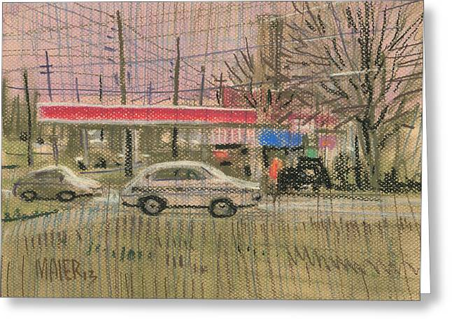 Highway Drawings Greeting Cards - Exxon Station Greeting Card by Donald Maier