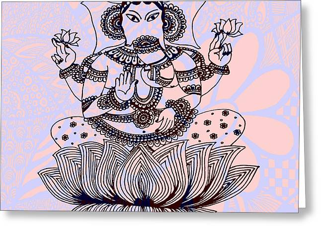 Goddess Durga Greeting Cards - Eye Abstract Art Greeting Card by Sketchii Studio