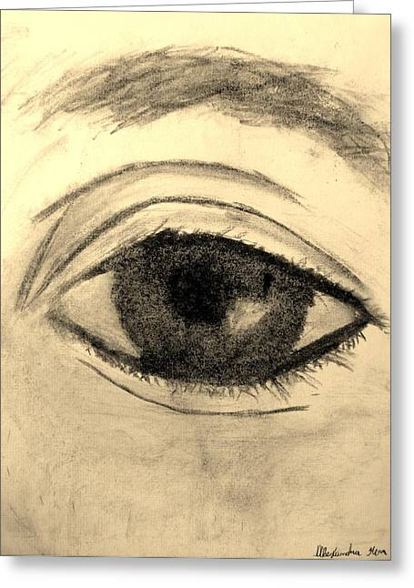Eyelash Drawings Greeting Cards - Eye Greeting Card by Alexandra Herr