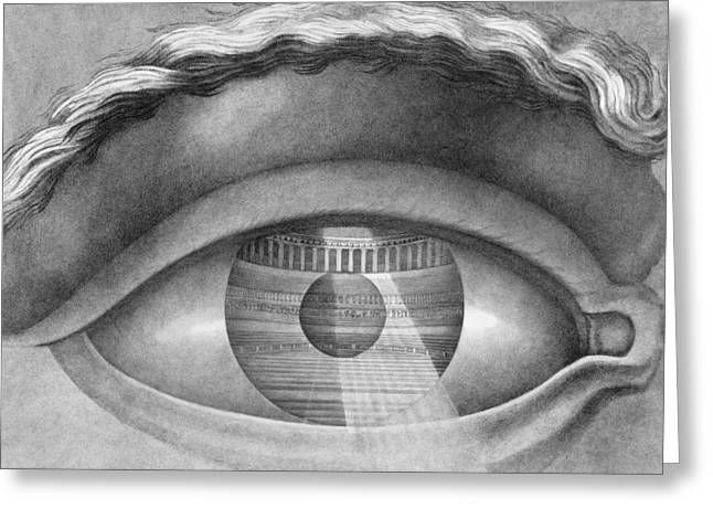 Enclosed Greeting Cards - Eye Enclosing the Theatre at Besancon France Greeting Card by Claude Nicolas Ledoux