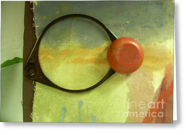 Ventura California Mixed Media Greeting Cards - Eye Fragment with sky and red trick yo-yo Greeting Card by Cathy Peterson