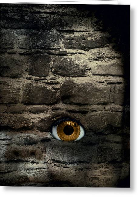 Eerie Greeting Cards - Eye In Brick Wall Greeting Card by Amanda And Christopher Elwell