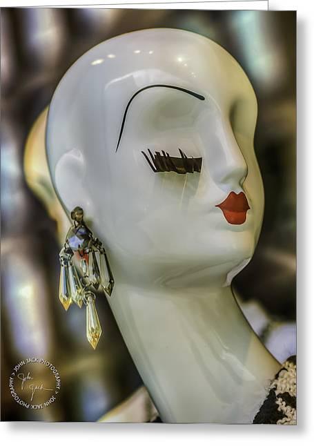 Chandelier Earrings Greeting Cards - Eye. Lash.  Greeting Card by John Jack