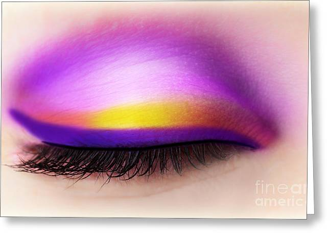Eyebrow Greeting Cards - Eye makeup Greeting Card by Anna Omelchenko