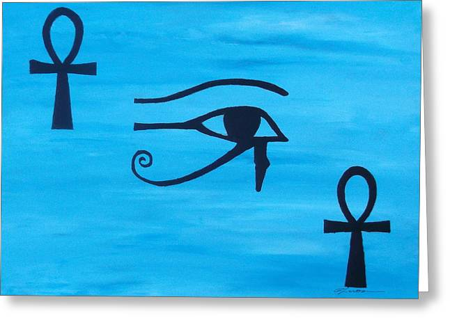 Horus Greeting Cards - Eye of horus Eternal Life Greeting Card by Emma Farrow