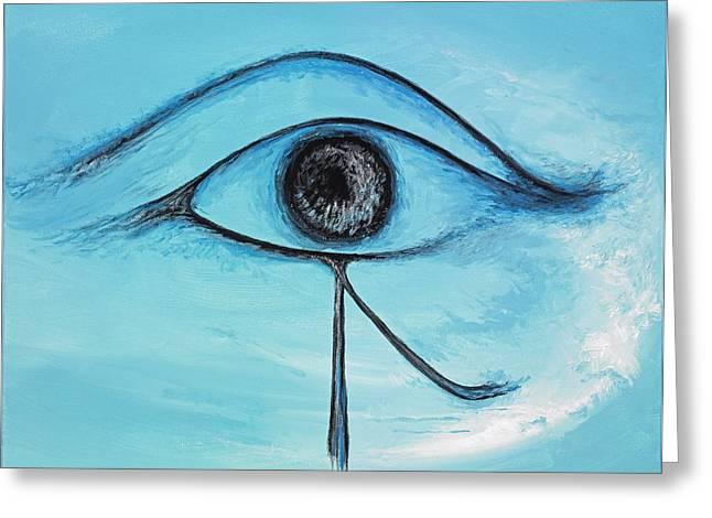 Horus Greeting Cards - Eye of Horus in the Sky Greeting Card by David Junod