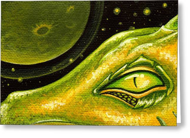 Fantasy Art Greeting Cards - Eye Of Moon Crater Greeting Card by Elaina  Wagner