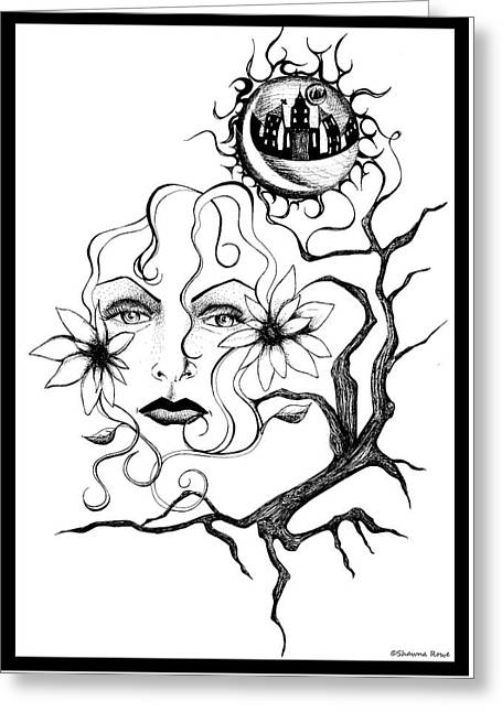 Bare Trees Drawings Greeting Cards - Eye of The Beholder Greeting Card by Shawna  Rowe