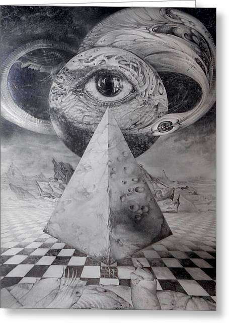 Pyramids Drawings Greeting Cards - Eye Of The Dark Star - Journey Through The Wormhole Greeting Card by Otto Rapp