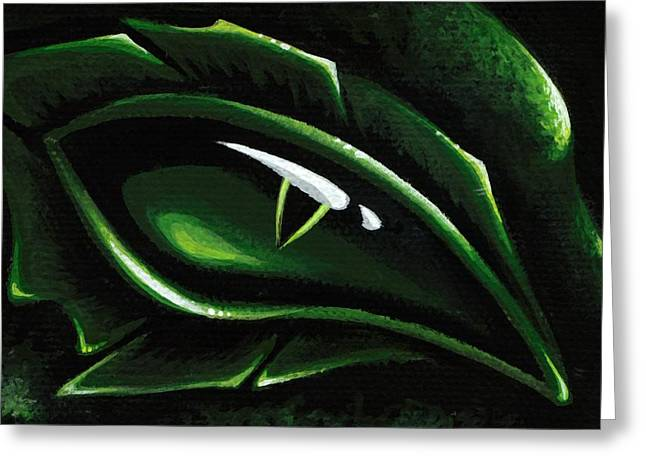 Eye Of The Emerald Green Dragon Greeting Card by Elaina  Wagner