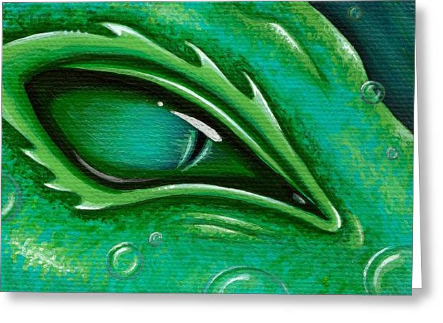 Eye Of The Green Algae Dragon Greeting Card by Elaina  Wagner