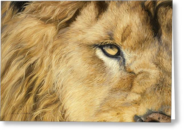 Male Greeting Cards - Eye Of The Lion Greeting Card by Lucie Bilodeau