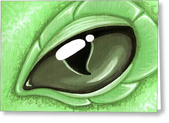 Eye Of The Mint Green Dragon Hatchling Greeting Card by Elaina  Wagner