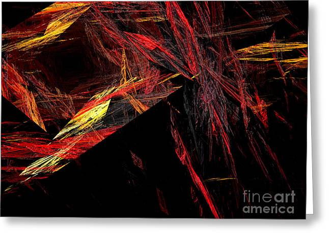 Swirls Of Energy Greeting Cards - Eye Of The Storm 1 - Direct Hit - Abstract - Fractal Art Greeting Card by Andee Design