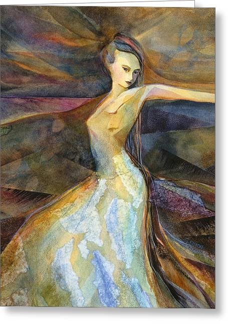 Twirl Greeting Cards - Eye of the Storm Greeting Card by Jen Norton