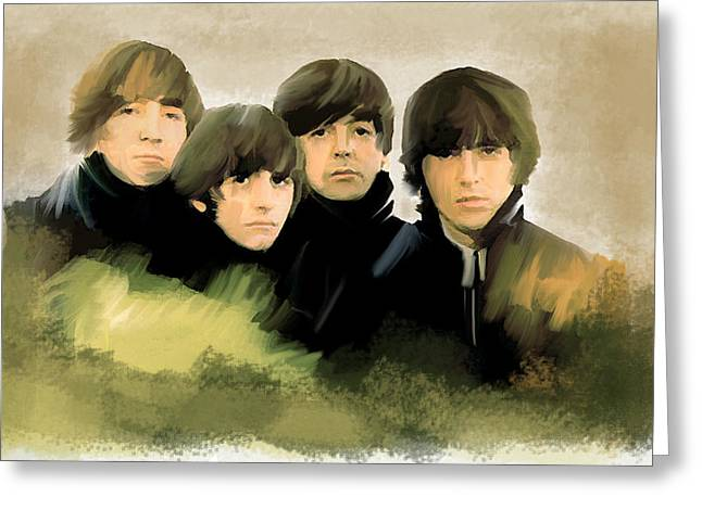 The Beatles Images Greeting Cards - Eye of The Storm The Beatles Greeting Card by Iconic Images Art Gallery David Pucciarelli