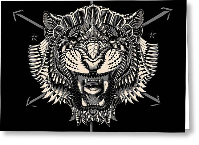 Tiger Illustration Greeting Cards - Eye of the Tiger Greeting Card by BioWorkZ
