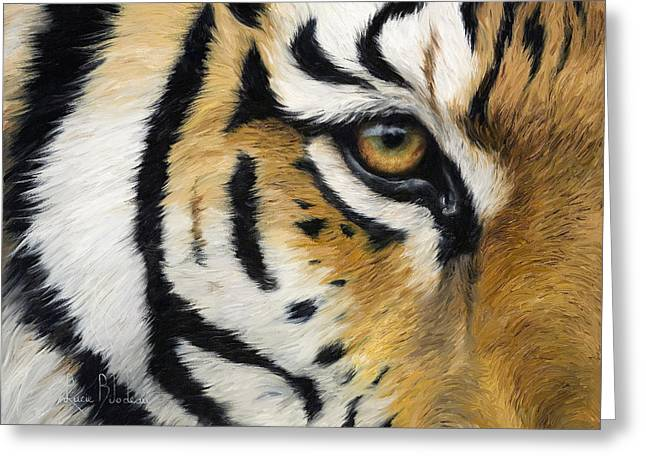 Siberian Greeting Cards - Eye Of The Tiger Greeting Card by Lucie Bilodeau