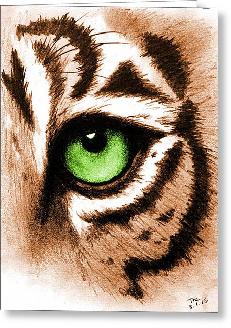 The Tiger Digital Greeting Cards - Eye of the Tiger Greeting Card by Michelle Eshleman