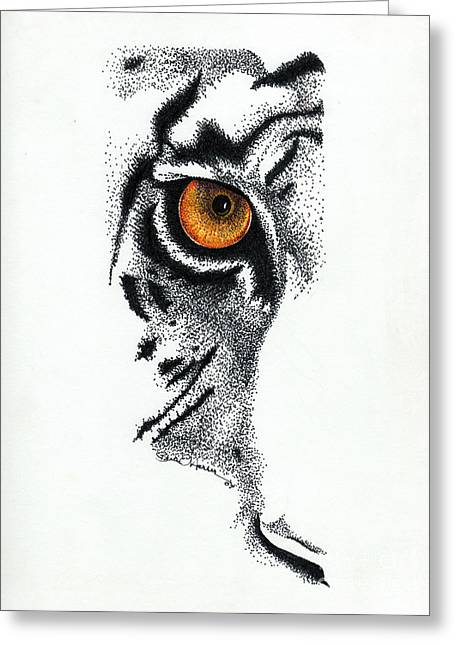 Wild Life Drawings Greeting Cards - Eye of the Wild Series Greeting Card by Brian Edward Harris
