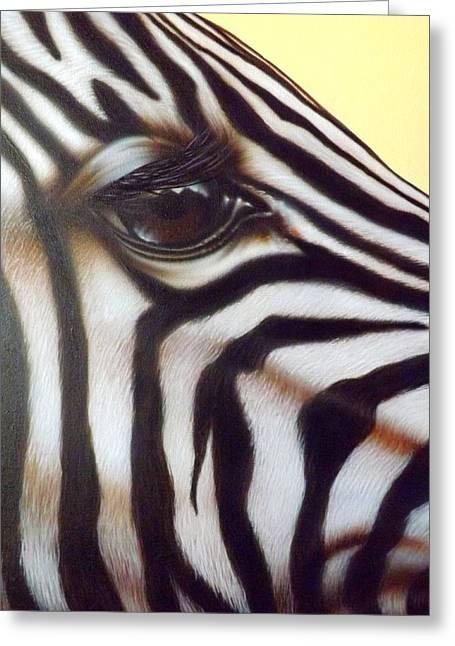 Darren Greeting Cards - Eye of the Zebra Greeting Card by Darren Robinson