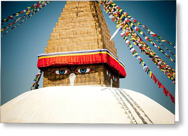 Eye Of Tibetan Stupa Boudnath And Buddhist Prayer Flags  Greeting Card by Raimond Klavins