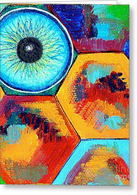 Genevieve Esson Drawings Greeting Cards - Eye On Honeycomb Greeting Card by Genevieve Esson