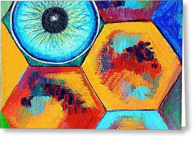 Bees Drawings Greeting Cards - Eye On Honeycomb Greeting Card by Genevieve Esson