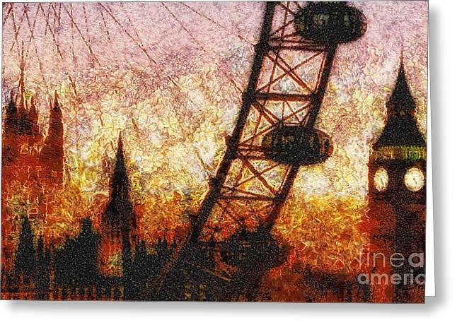 Sunset Scenes. Mixed Media Greeting Cards - Eye on London Greeting Card by Mo T