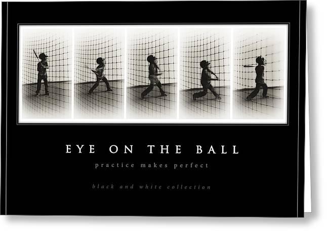 Batting Helmet Greeting Cards - Eye On The Ball - black background Greeting Card by Greg Jackson