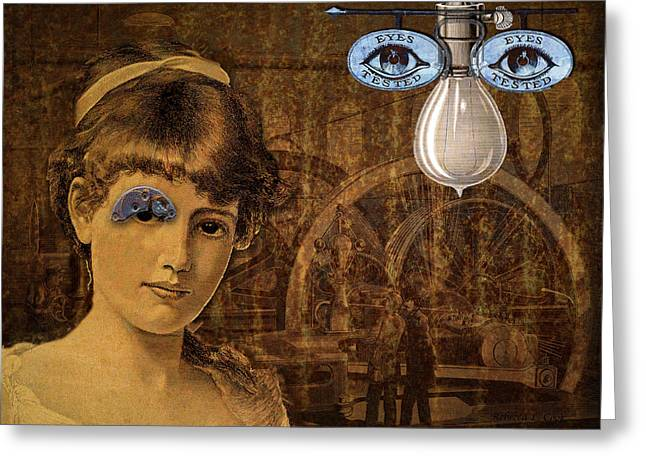 Cog Mixed Media Greeting Cards - Eye Test Steampunk Greeting Card by Bellesouth Studio