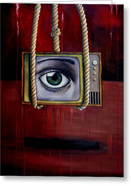 Big Brother Greeting Cards - Eye Witness Greeting Card by Leah Saulnier The Painting Maniac