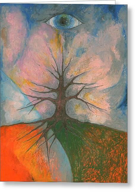 Vivid Colour Pastels Greeting Cards - Eye Greeting Card by Wojtek Kowalski