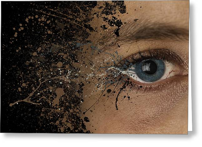 Eyebrow Greeting Cards - Eye woman abstract explosion  Greeting Card by Andy Gimino