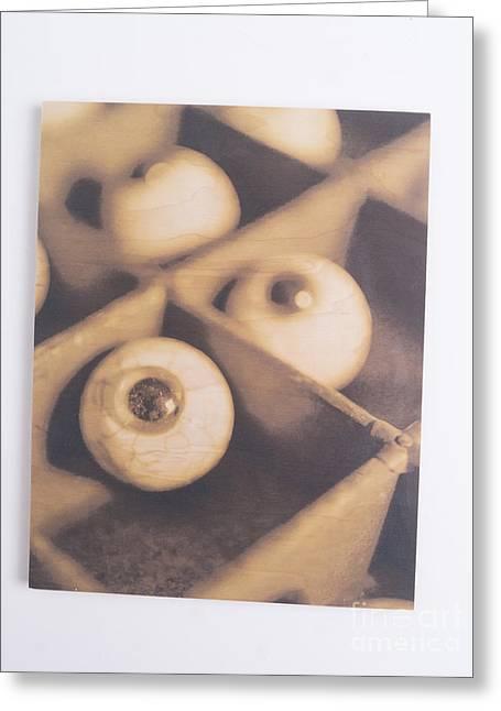 Eyeballs Greeting Cards - Original - Eyeballs On Wood Greeting Card by Edward Fielding