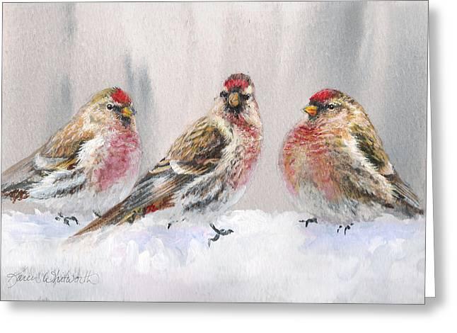 Snowy Birds - Eyeing The Feeder 2 Alaskan Redpolls In Winter Scene Greeting Card by Karen Whitworth