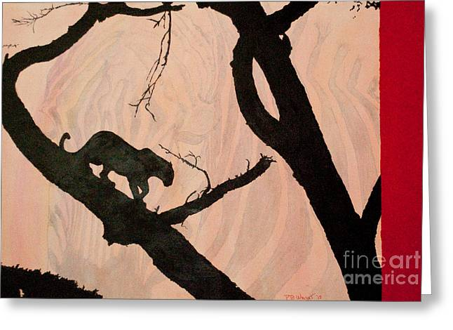 Daughter Gift Paintings Greeting Cards - Eyeing The Panther Greeting Card by Paulette B Wright