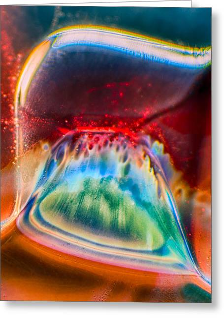 Red Abstracts Glass Art Greeting Cards - Eyeland Greeting Card by Omaste Witkowski