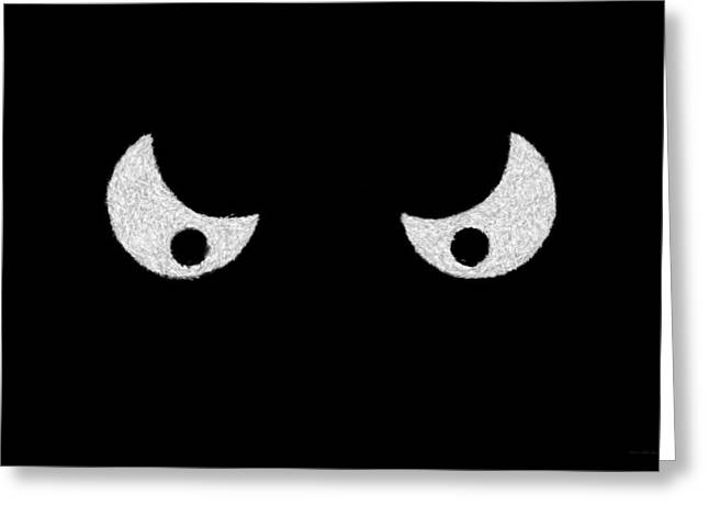 Hdr Look Digital Greeting Cards - Eyes - In the dark Greeting Card by Mike Savad