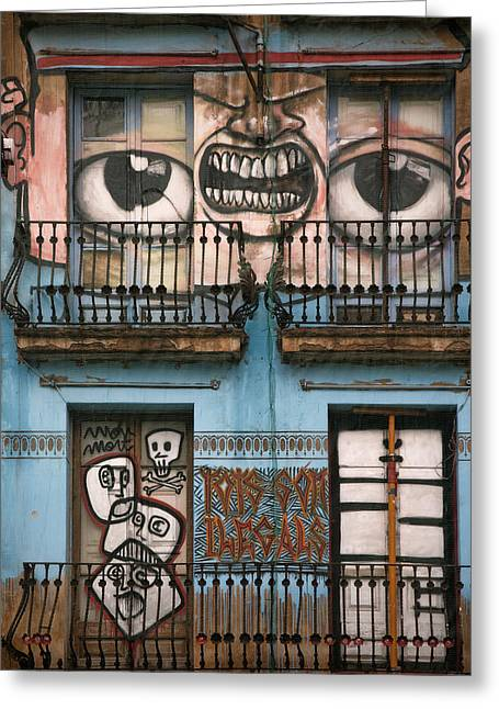 Exterior Pyrography Greeting Cards - Eyes of Barcelona Greeting Card by Joanna Madloch
