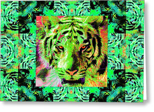 The Tiger Greeting Cards - Eyes of The Bengal Tiger Abstract Window 20130205m180 Greeting Card by Wingsdomain Art and Photography