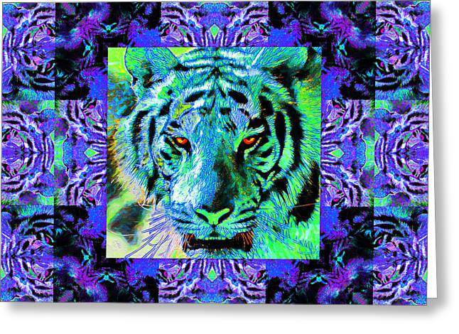 The Tiger Greeting Cards - Eyes of The Bengal Tiger Abstract Window 20130205m80 Greeting Card by Wingsdomain Art and Photography