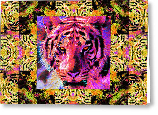 The Tiger Greeting Cards - Eyes of The Bengal Tiger Abstract Window 20130205p80 Greeting Card by Wingsdomain Art and Photography