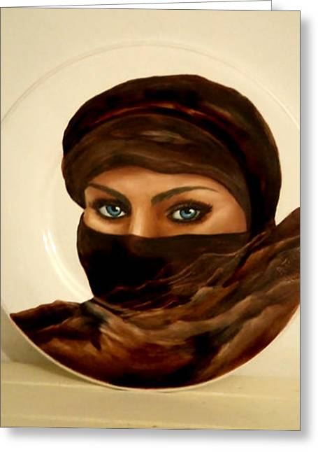 Desert Ceramics Greeting Cards - Eyes Of The Desert Greeting Card by Patricia Rachidi