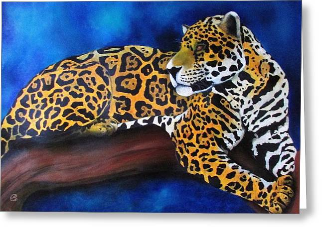 Jaguars Pastels Greeting Cards - Eyes of the jungle series Greeting Card by Linda Weldon