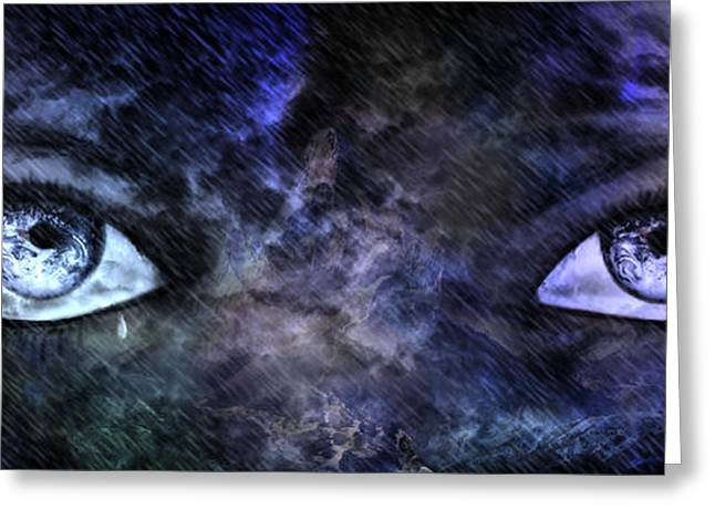 Tears Greeting Cards - Eyes of The Mother Greeting Card by Leanne M Williams