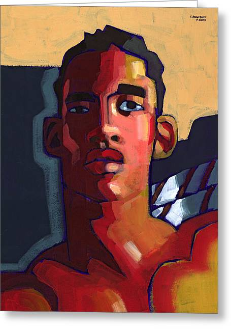 Face Greeting Cards - Eyes on the Prize Greeting Card by Douglas Simonson