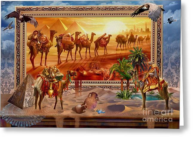 Camel Digital Greeting Cards - Eygptian Scene Greeting Card by Jan Patrik Krasny